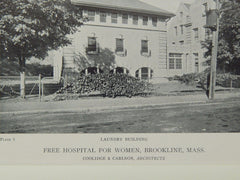 Operating & Laundry, Free Hospital for Women, Brookline, MA, 1919, Lithograph. Coolidge & Carson.