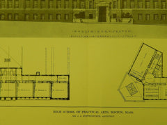 Elevation, High School of Practical Arts, Boston, MA, 1914, Original Plan. J. A. Schweinfruth