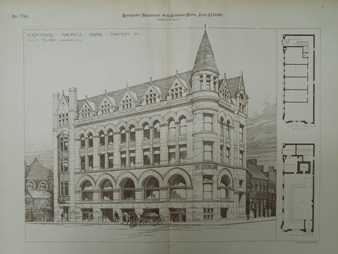 Central Savings Bank, Canton, OH, 1890, Original Plan. Guy Tilden.