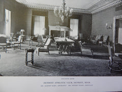 Detroit Athletic Club: Lounge, Detroit, MI, Lithograph,1915. Kahn & Wilby.