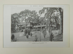 Exterior, House of Edward A. Clark, Marion, MA, 1919, Lithograph. Coolidge & Carlson.