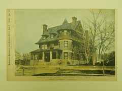 Parsonage for the Central Presbyterian Church, Denver, CO, 1890, Photogravure. Kidder & Humphreys.