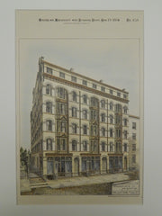 Apartment House for John Wharton,Esq., Newark, NJ, 1884, Original Plan.  Paul G. Botticher.
