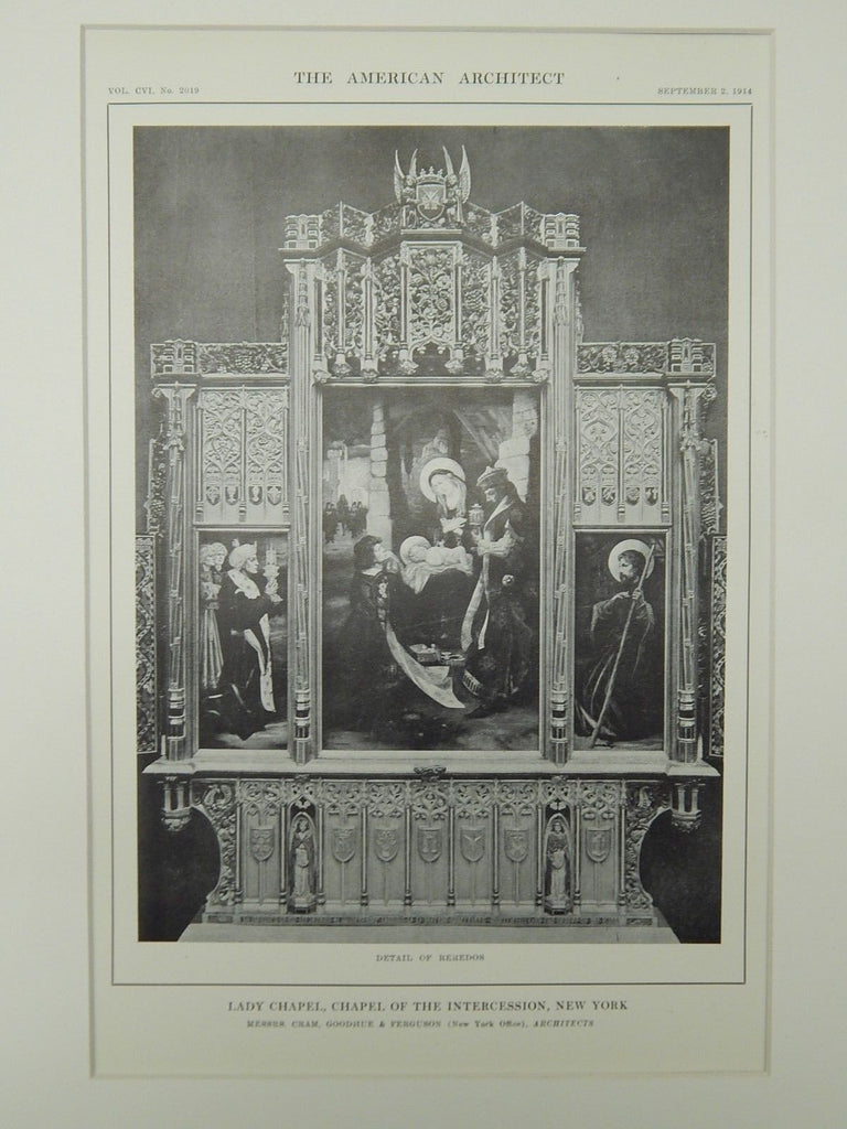 Reredos, Lady Chapel, Chapel of the Intercession, New York, NY, 1914, Lithograph. Cram, Goodhue & Ferguson.