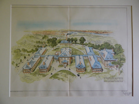 Bird's Eye View: Hospital, Youngstown, OH, 1901, Original Plan. Dwight&Chandler.