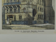 House in Cadogan Square, Chelsea, London, England, 1883. R. Norman Shaw. Original