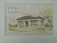 Robbins Memorial Library, Arlington, MA, 1890. Orig Plan. Cabot, Everett, Mead.