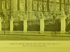 View from Street, House of Andrew Carnegie, New York, NY, 1903, Lithograph. Babb, Cook & Willard.
