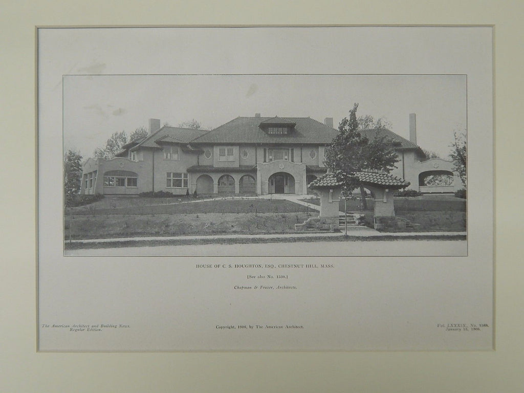 House of C. S. Houghton, Esq., Chestnut Hill, MA, 1906, Lithograph. Chapman & Frazer.