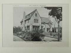 House of Clarence McDaniel, Hartsdale, NY, 1921, Lithograph.  Julius Gregory.
