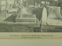 The Library, House of A. W. Meyer, Esq., Kansas City, MO, 1903, Photogravure. Van Brunt&Howe