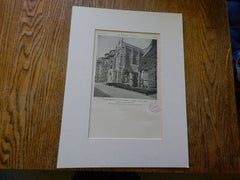 Lindsey Memorial Chapel, Emmanuel Church, Boston, MA,1928, Lithograph. Allen&Collens.