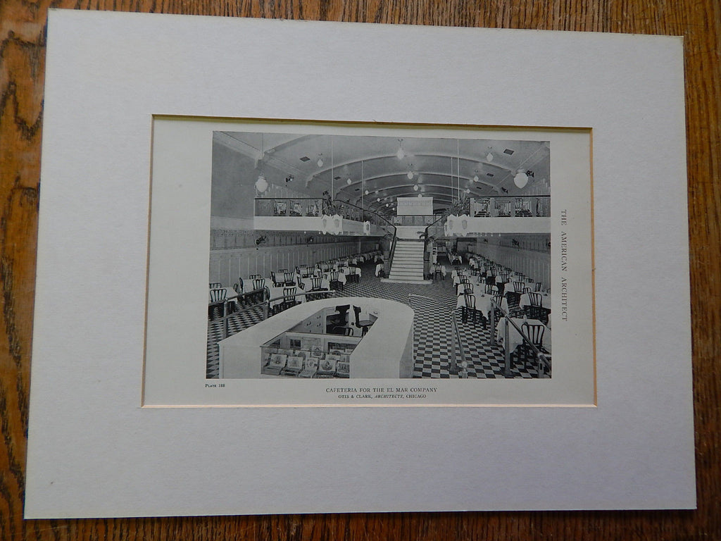 Cafeteria For the El Mar Company, Chicago, IL, 1918, Lithograph. Otis&Clark.