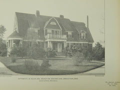 Cottage of J. B. Fallon, Esq., Jamaica Plain, MA, 1902, Lithograph. Loring & Phipps.