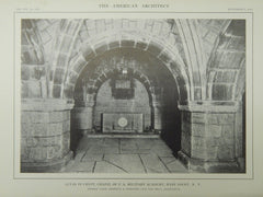 Altar in Crypt, Chapel in US Military Academy, West Point, NY, 1914, Lithograph. Cram, Goodhue & Ferguson.