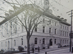 Police Station, Municipal Court Bldg., Brookline, MA, 1901,Lithograph. Schweinfurth.