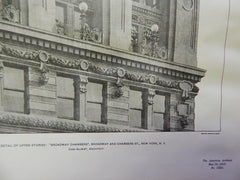 Detail Upper Stories: Broadway Chambers,NY, 1901, Lithograph. Gilbert.