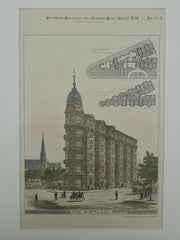 The Portland Building, Washington, DC, 1884, Original Plan. Cluss & Schulze.