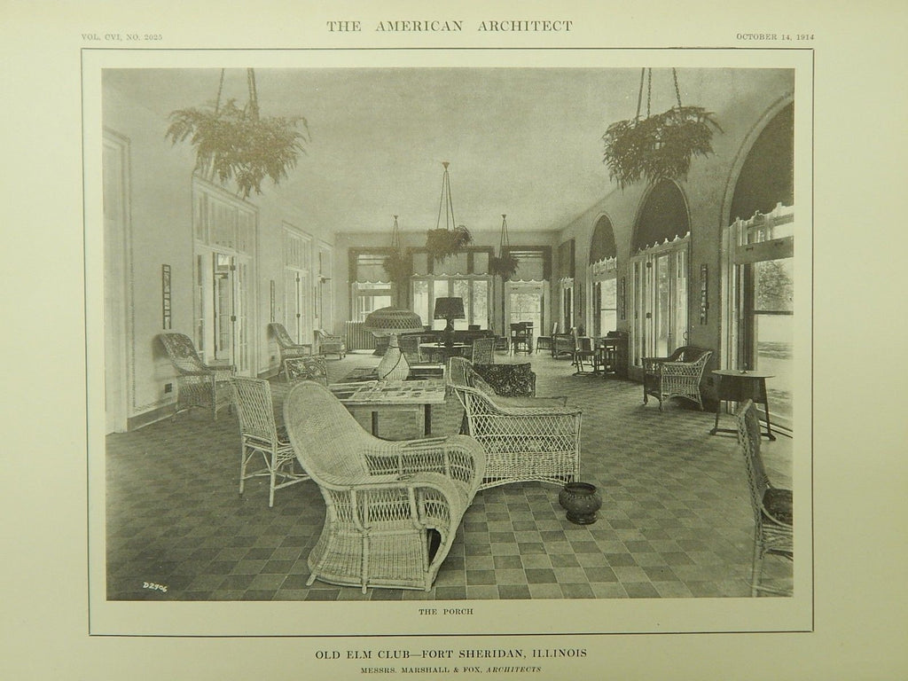 The Porch, Old Elm Club, Fort Sheridan, IL, 1914, Lithograph.  Marshall & Fox.