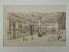 Interior, New Restaurant, Hotel Brunswick, New York, NY, 1882, Original Plan. H. Edwards Ficken.