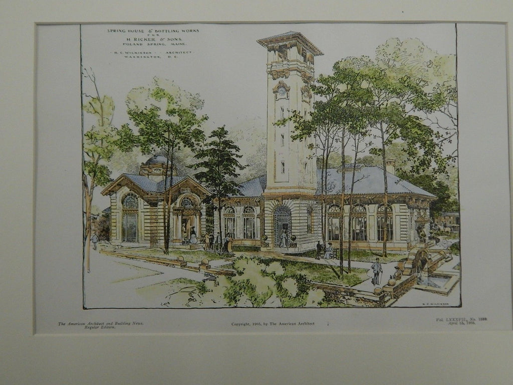 Spring House & Bottling Works for H. Ricker & Sons, Poland Spring, ME, 1905. Wilkinson.