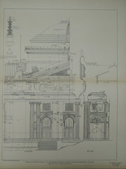 Central Pavilion Details, US Govt. Building, St. Louis, MO, 1903, Original Plan. James Knox Taylor.