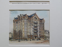 Hier Flats, Church & Genesse Sts., Syracuse, NY, 1889. Original Plan. JM Elliot.