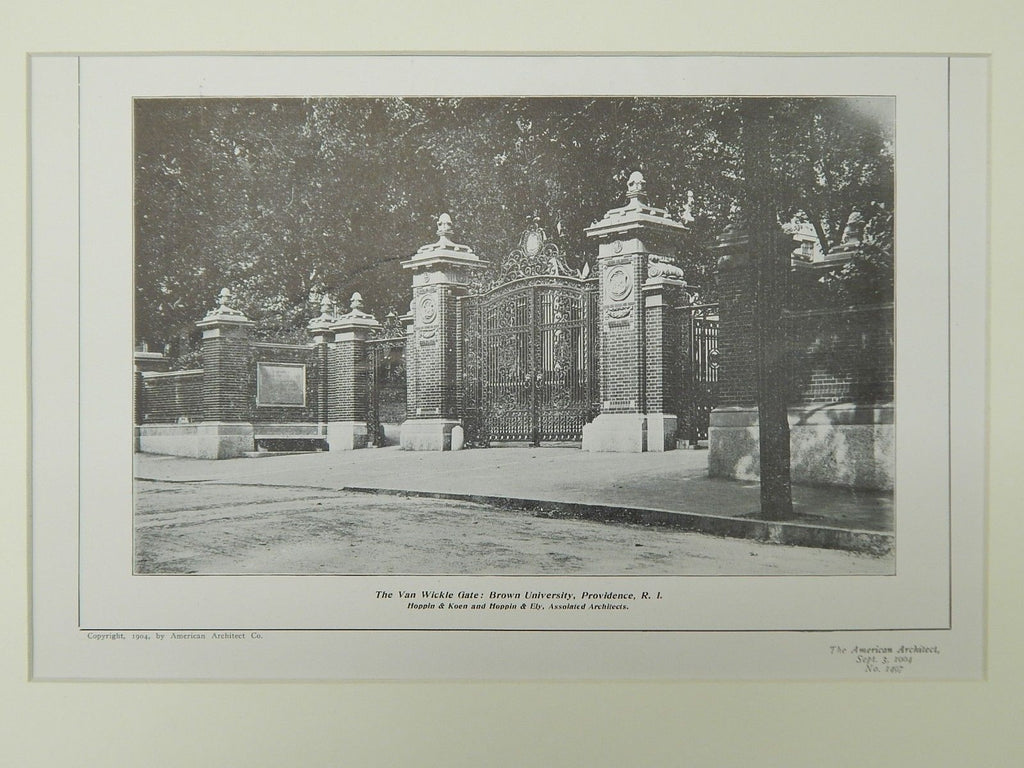 The Van Wickle Gate, Brown University, Providence, RI, 1904, Lithograph. Hoppin & Koen and Hoppin & Ely.
