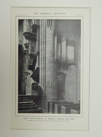 Aisle Case of Organ, St. Thomas's Church, NY, 1914. Early Photograph. Cram, Goodhue, & Ferguson.