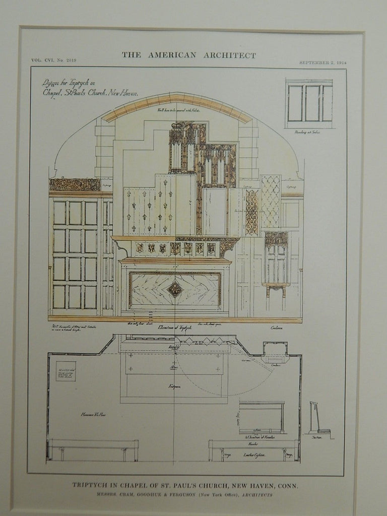 Triptych in Chapel of St. Paul's Church, New Haven, CN, 1914. Original Plan. Cram, Goodhue, & Ferguson.