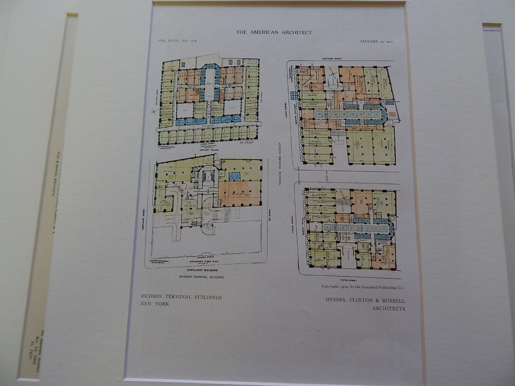 Hudson Terminal Buildings, New York, NY 1910. Original Plan. Clinton & Russell.