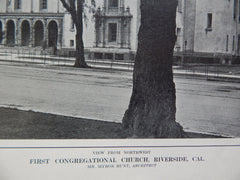 View from Northwest, First Congregational Church, Riverside, CA, 1914. Myron Hunt.