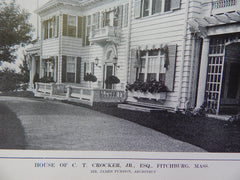 House of C.T.Crocker,Jr., Exterior, Fitchburg,MA, Lithograph,1914. James Purdon.