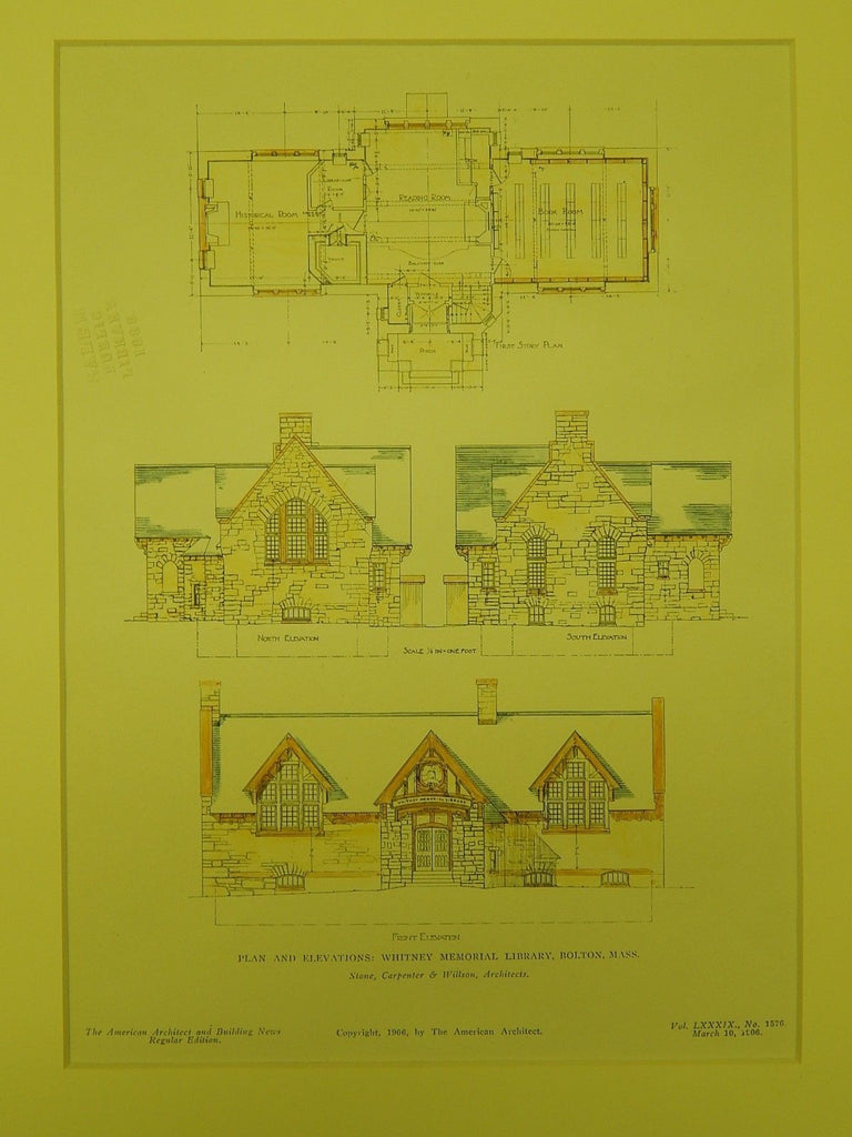 Elevations, Whitney Memorial Library, Bolton, MA, 1906, Original Plan. Stone, Carpenter & Wilson.