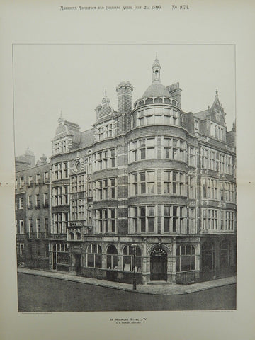 24 Wigmore Street, Westminster, London, England, 1896, Lithograph. C. H. Worley.