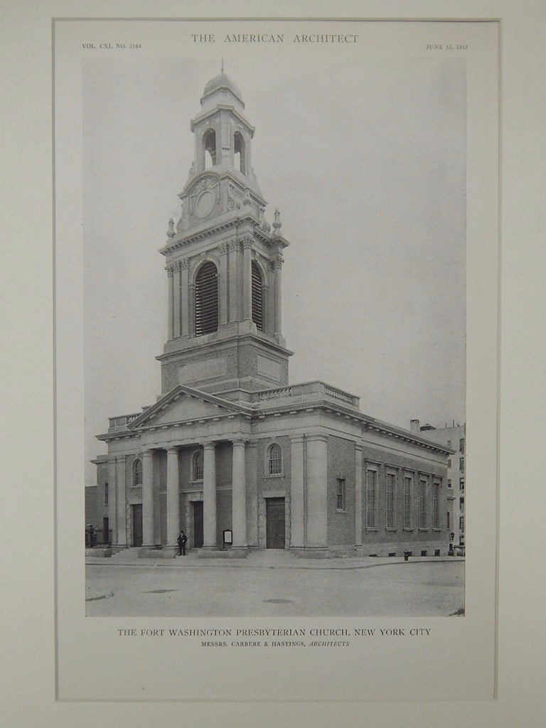 The Fort Washington Presbyterian Church, New York, NY, 1917, Lithograph. Carrere & Hastings.