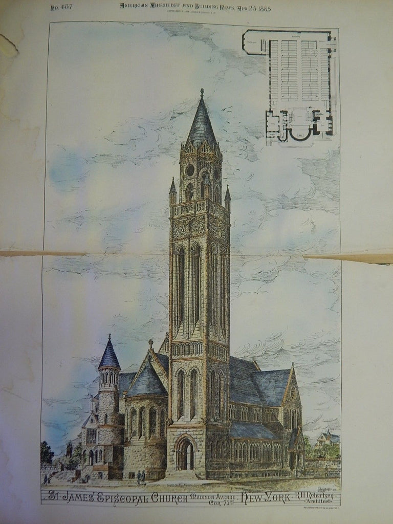 St. James Episcopal Church, Madison Ave, NY, 1885. Original Plan. R.H.Robertson.