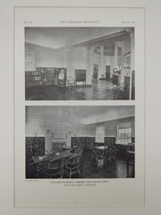Interior, Hagaman Memorial Library, East Haven, CT, 1929, Lithograph. Davis & Walldorff.