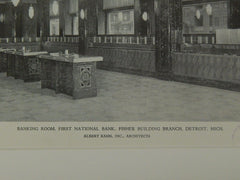Banking Room, First National Bank, Fisher Branch, Detroit, MI, 1929, Lithograph. Albert Kahn.