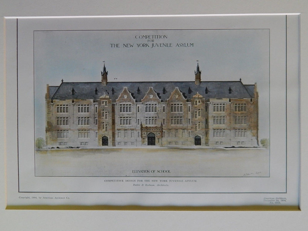 Competitive Design for NY Juvenile Asylum, NY, 1904. Original Plan Butler/Rodman.