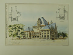 Design for Music Hall at Buffalo, NY, 1885, Original Plan. Schiadermaudt.