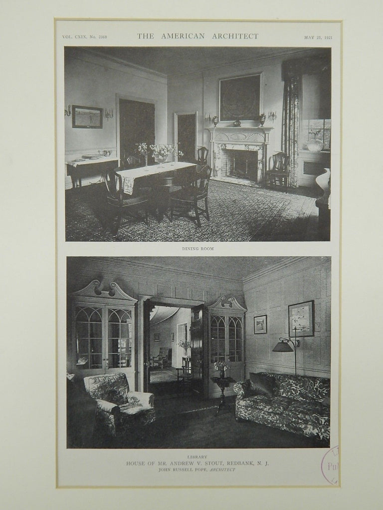 Interior, House of Mr. Andrew V. Stout, Redbank, NJ, 1921, Photogravure. Pope.
