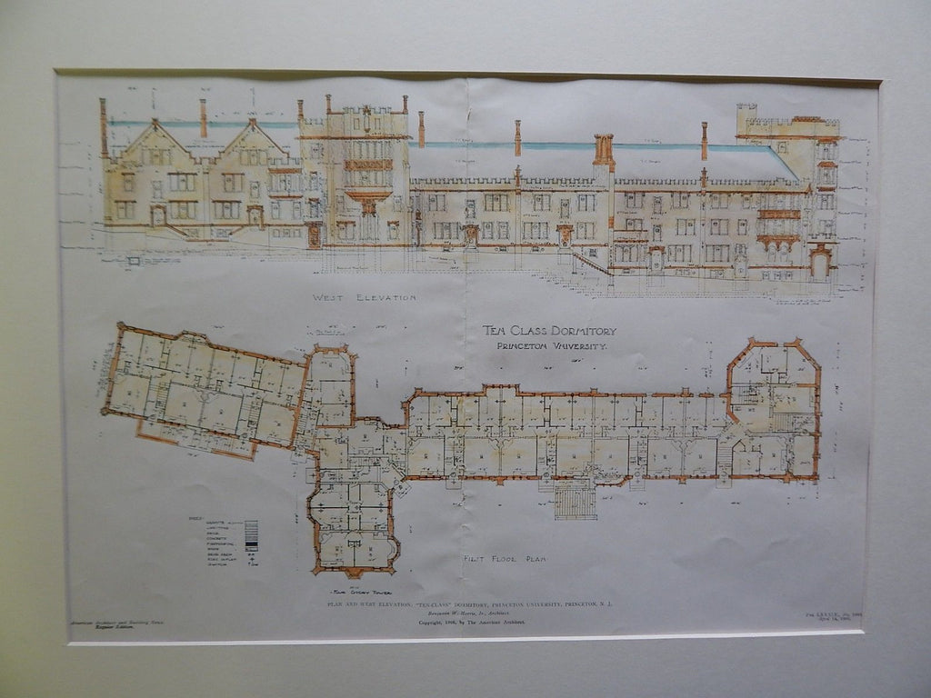 """Ten-Class"" Dormitory, Princeton University, Princeton, NJ, 1906, Original Plan. Morris."