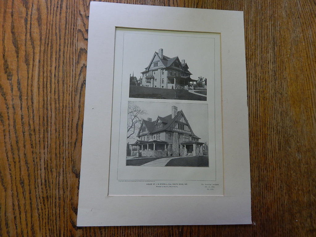 House of J.B. Birdsell, ESQ.,South Bend, IN, 1901, Lithograph. Parker & Austin.