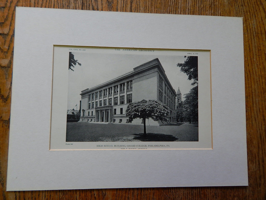 High School Building, Girard College,Philadelphia, PA.,1918, Lithograph. John T. Windrim.