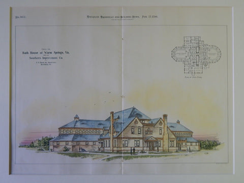 Bath House for the Southern Improvement Co., Warm Springs, VA, 1896. Orig Plan. C.H. Read, Jr.