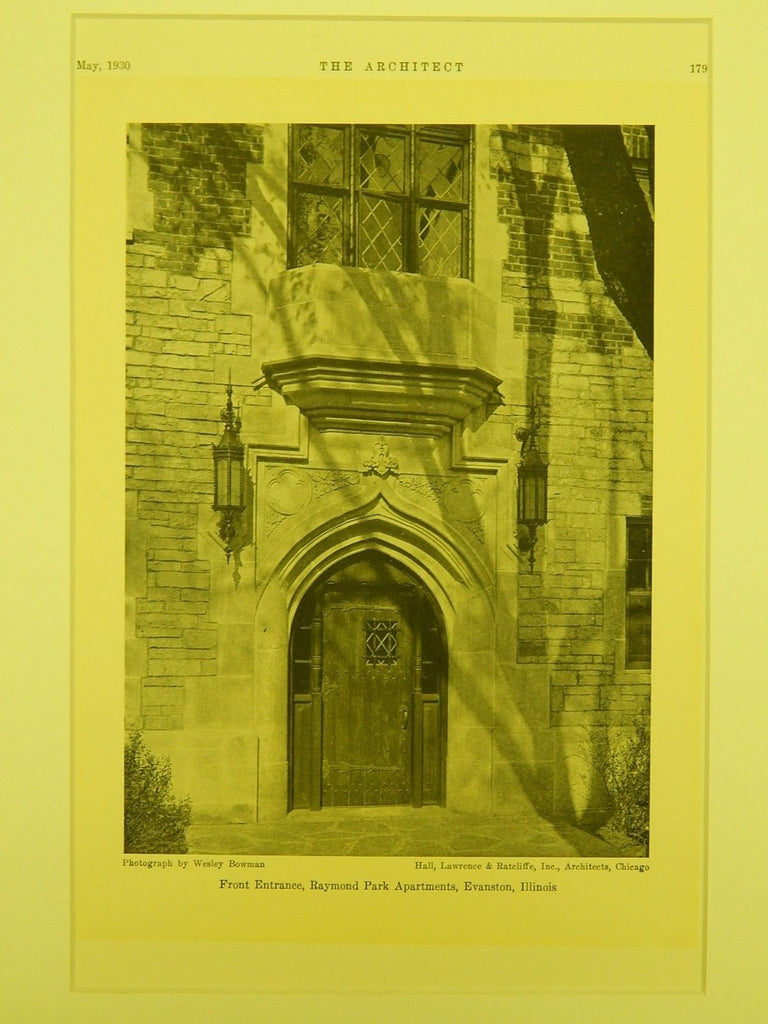 Front Entrance, Raymond Park Apartments, Evanston, IL, 1930, Lithograph. Hall, Lawrence & Ratcliffe, Inc.