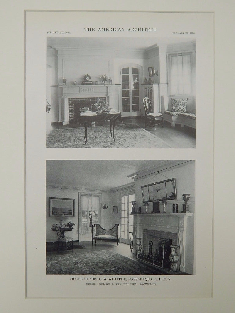 Living Room, House of Mrs. C. W. Whipple, Massapequa, NY, 1916, Lithograph. Nelson & Van Wagenen.