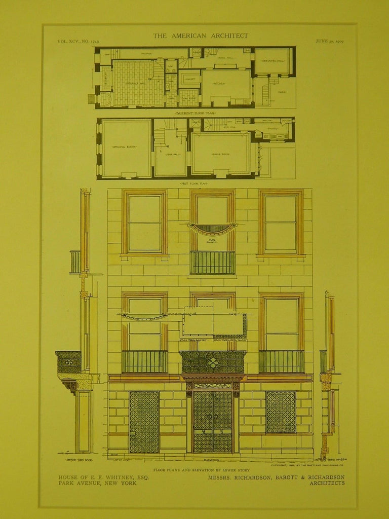 Floor Plans & Elevation, E. F. Whitney House, New York, NY, 1909, Original Plan. Richardson, Barott & Richardson.