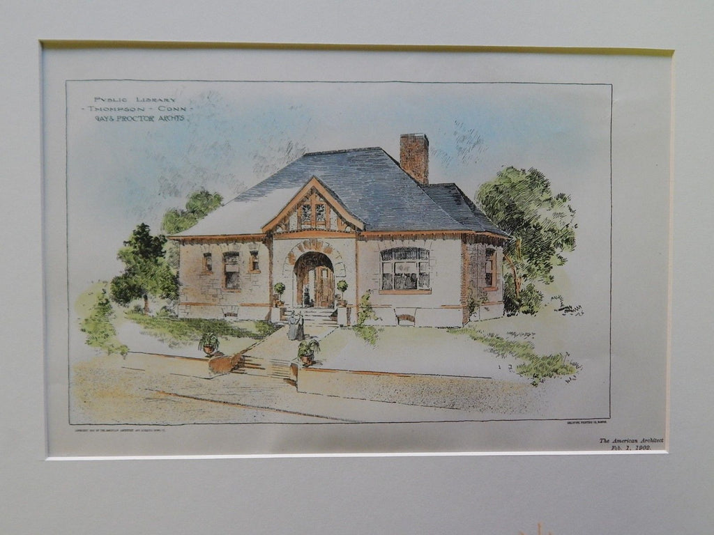 Public Library, Thompson, CT, 1902. Original Plan. Gay & Proctor.